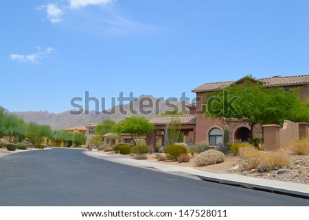 New Southwestern Style Neighborhood in the Mountains of the Arizona Desert - stock photo