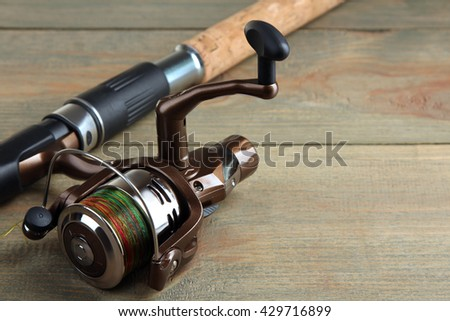 new spinning on a brown wooden background