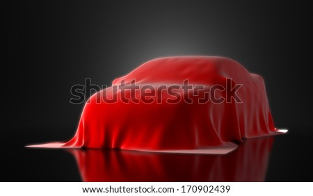 new sport car presentation in black studio lighting - stock photo
