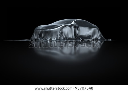 New Sports Car presentation silver fabric - stock photo