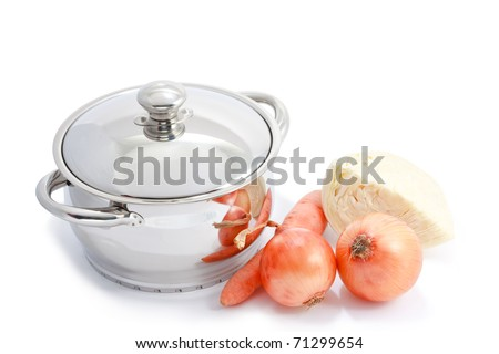 New stainless steel cooking pot, onion, carrot and cabbage isolated on white - stock photo