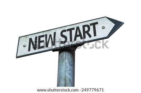 New Start sign isolated on white background - stock photo