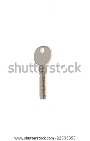 New steel modern key on white background 2