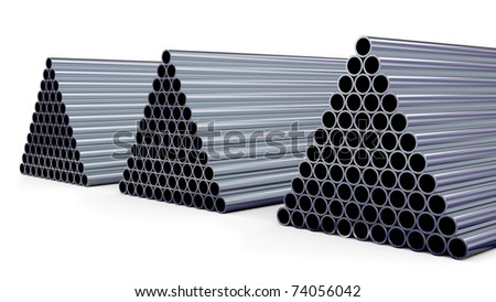 New steel pipes for gas pipeline in the shape of a pyramid stacked at warehouse - stock photo