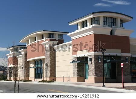 New Strip Center Facade - stock photo