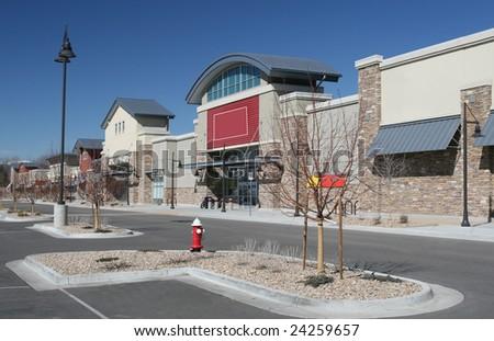 New Strip Shopping Center - stock photo