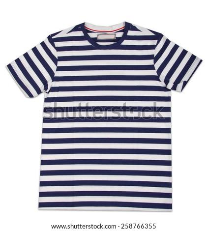 New stripes mens shirt. T-shirt Isolated on white - stock photo