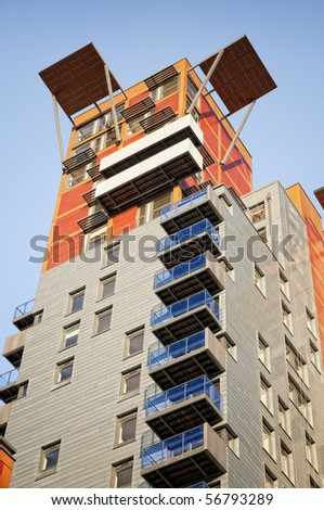 New, stylis apartment building. - stock photo