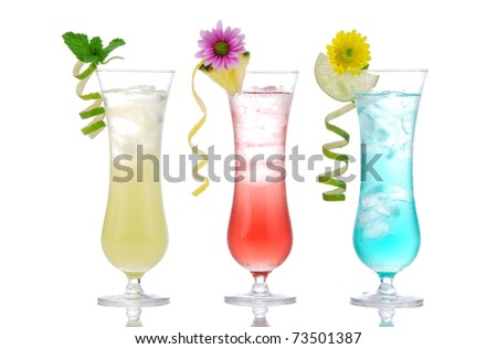New Summer cocktails mojito, martini, margarita, red, yellow and blue curacao with beautiful flower, mint, lime, pineapple, twisted spiral citrus decorations in cocktail glasses on white background - stock photo