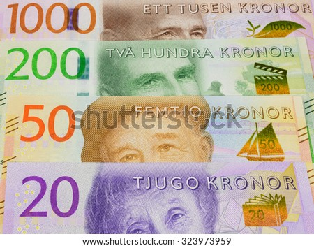 New swedish bank notes. NOTE: the new 2015 model. - stock photo