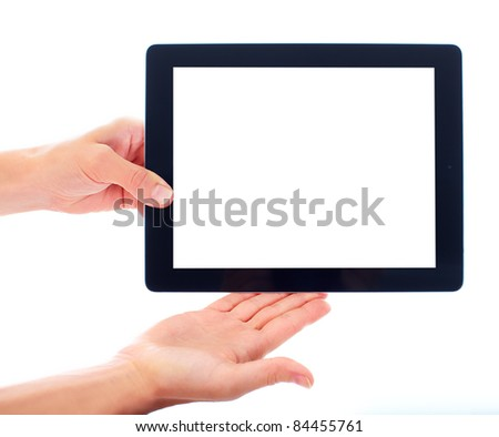 New tablet computer. Isolated over white background. - stock photo