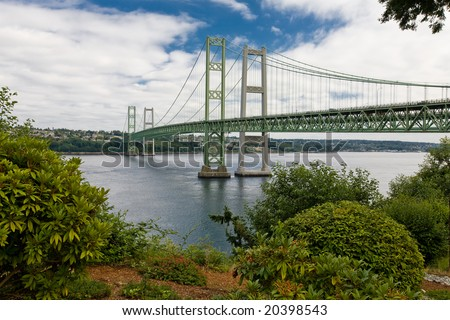 New Tacoma Narrows Suspension Bridges - stock photo