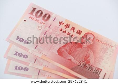 New Taiwan dollar bank note close up - stock photo