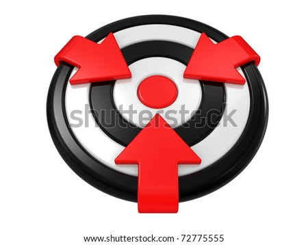 New target and arrows isolated on a white background - stock photo