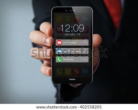 new technologies business  concept: businessman hand holding a 3d generated touch phone with notifications on the screen. Screen graphics are made up. - stock photo