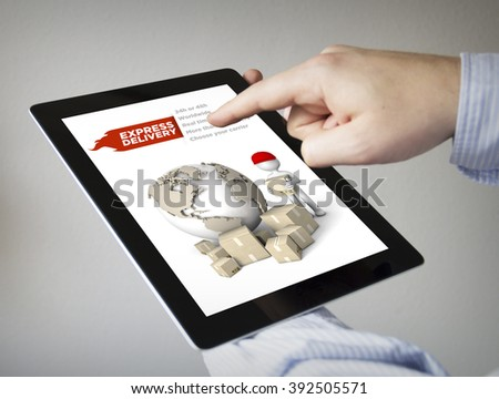 new technologies concept: hands with touchscreen tablet with express delivery on the screen. Screen graphics are made up. - stock photo