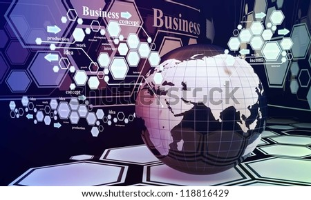 New technologies in the business, the future of business and new ideas. E-land, technology of the future - stock photo