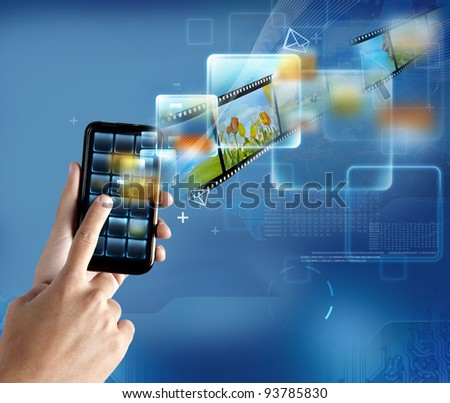 New technology on a modern smartphone - stock photo
