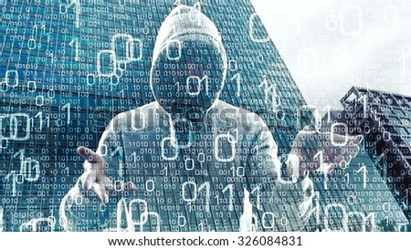 New technology spy attack, hacker steal data - stock photo