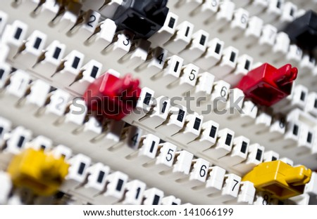 New telephone cross connectors panel without wires on it/Telephone cross connectors panel - stock photo