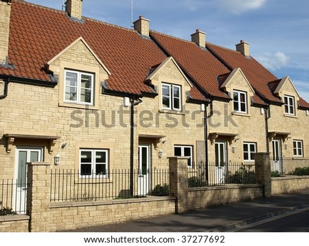 New Terraced Houses - stock photo
