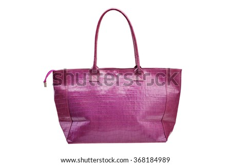 New textured violet womens bag isolated on white background.