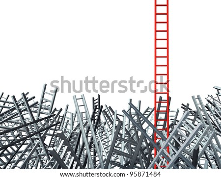 New thinking as an innovative good idea and solution to a business problem as a red ladder standing out from a group of confused grey ladders as a financial icon of opportunity from obstacles. - stock photo