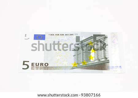 New ticket 5 euros from the European community - stock photo