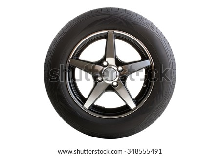 new tire isolated on white background - stock photo