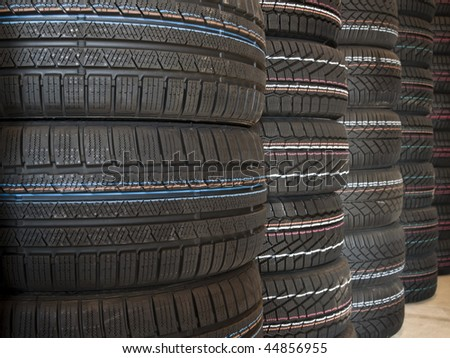 New tires stacked up - stock photo