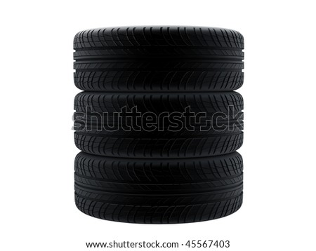 New tires stacked up and isolated on white background.