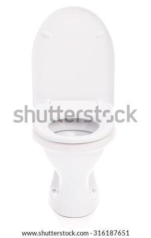 New toilet bowl isolated on white background - stock photo