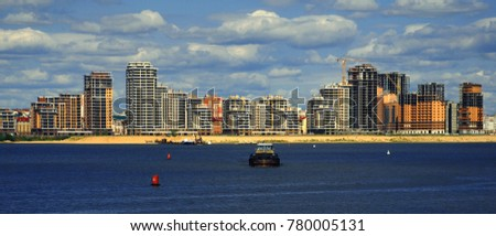 New town, Cityscape, Nautical Vessel, Ship, Business Finance and Industry, Cloud - Sky