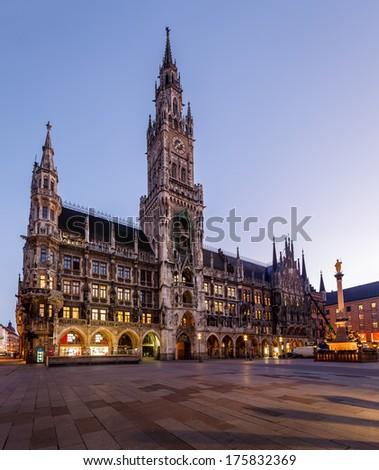 New Town Hall and Marienplatz in Munich at Dawn, Bavaria, Germany - stock photo