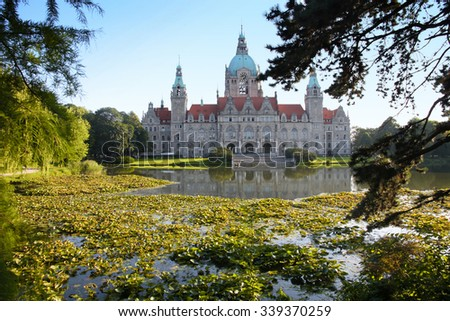 New Town Hall building (Rathaus) in Hannover Germany - stock photo