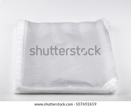 New transparent  File sheet protectors on white background