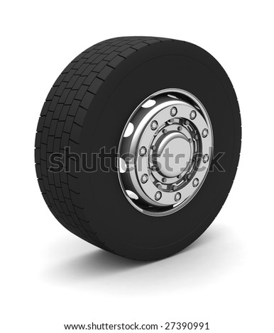 New Truck wheel on the blue background - stock photo