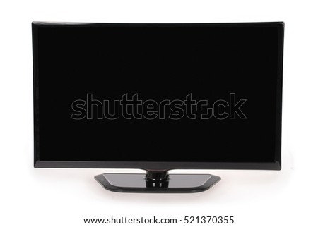 New TV isolated on white background. Closeup with clipping path