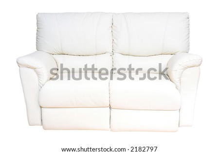 New, two seater white leather sofa or settee with isolated background - stock photo