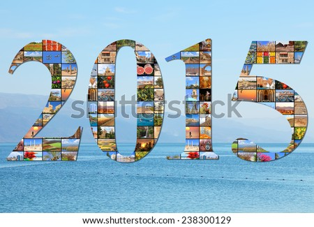 New two thousand fifteen. Numbers are made of the Mediterranean vacation collage photos on the sea wave background - stock photo