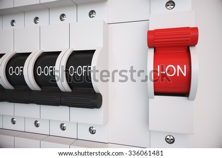 stock photo new type trip switch fuse box all switches are on position electricity power fuse related 336061481 breaker box stock images, royalty free images & vectors shutterstock main power switch fuse box at bayanpartner.co