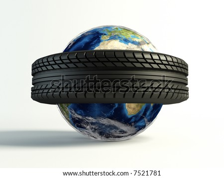 new tyre around the world on isolated white background - stock photo