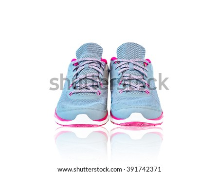 New unbranded running shoes, sneaker or trainer isolated on white background with reflection - stock photo