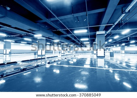 New underground car park, empty without a car. - stock photo