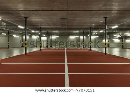 new underground parking - stock photo