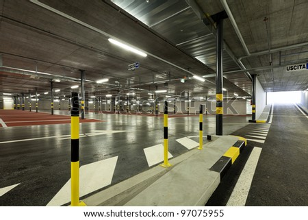 new underground parking, sidewalk - stock photo