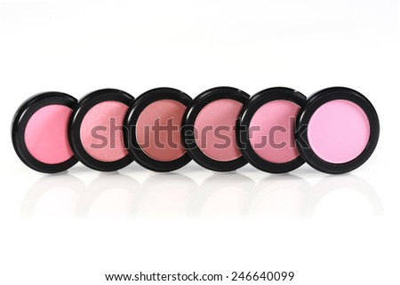 New Unused Blush Colors in Black Circular Containers - stock photo
