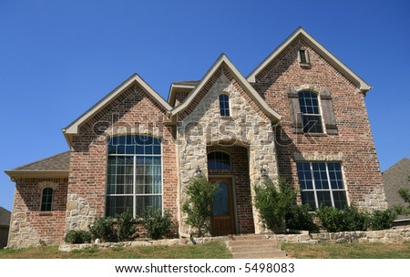 New, upscale home for sale or lease - stock photo