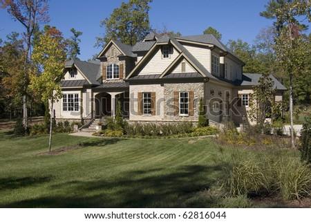 New upscale suburban house - stock photo