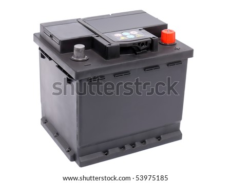 New 12V car battery isolated on white background - stock photo